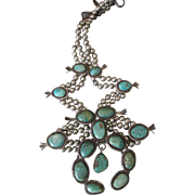 Vintage Navajo Signed Sterling Silver Cerrillos Turquoise Squash Blossom Necklace