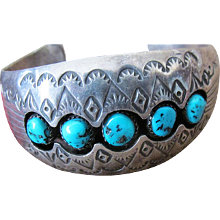 Navajo Cuff Bracelet Sterling Silver Sleeping Beauty Turquoise Silversmith Pauline Benally