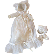 Vintage Small Baby Doll Exquisite Christening Outfit Circa 1950