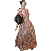 Early Milliner Model Papier Mache Shoulderhead  Doll with Uncommon Bun Hairdo