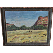 Vintage En Plein Aire New Mexico Regional Oil Painting on Board Signed
