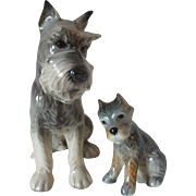 Vintage Goebel West Germany Sitting Schnauzer Dog Porcelain Papa and Puppy Figurines