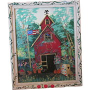 Whimsical Folk Art School House Oil Signed Painting on Glass