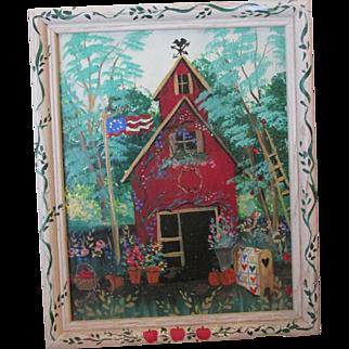Whimsical Folk Art School House Oil Signed Painting on Glass