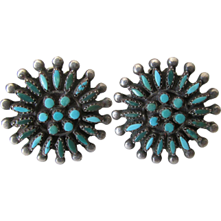 Zuni Petit Point Green Blue Turquoise Snowflake Cluster Clip Earrings