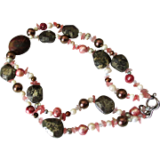 Necklace of Fresh Water Multi-Hued Cultured Pearls, Crystals, Lodestones, Mahogany Obsidian and Brass Beads