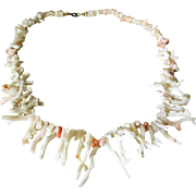 Natural Angel Skin Coral Branch Necklace to Wear with Native American Jewelry