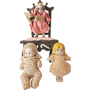 3 Small All Bisque Dolls, Nippon, Japan from 1920s