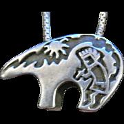 Vintage Hopi Overlay Sterling Silver Spirit Bear Story Teller Pendant on Sterling Chain