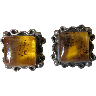 Pair Vintage Sterling Silver and Natural Amber Artisan Signed Pierced Earrings