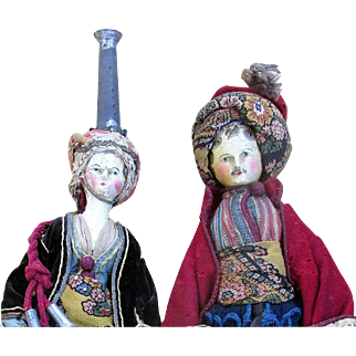 Rare 1820 Tuck Comb Grodnertal Wooden Doll PAIR * All Original * Museum Quality * Extended Layaway Available