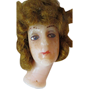 Antique Poured Wax Edwardian Doll Head Long Flange Neck