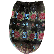 Hand Beaded 19th C Floral Micro - Beaded Reticule Purse  * Perfect for Elegant Evening Bag