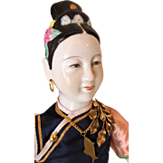 Vintage Hand Painted Chinese Doll as Pre-Revolutionary Mandarin Fashion Lady with Pierced Ears and Nostrils, Bound Feet in Lotus Shoes