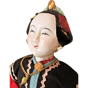 Vintage Chinese Doll as Pre-Revolutionary Mandarin Little Girl with Pierced Ears and Nostrils, Bound Feet in Lotus Shoes