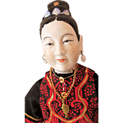 Vintage Hand Painted Chinese Doll as Pre-Revolutionary Mandarin Mature Lady with Pierced Ears and Nostrils, Bound Feet in Lotus Shoes