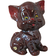Vintage Big Brown Redware Wide Eyed Kitty Cat with Label
