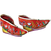Antique Tiny Mandarin Chinese Silk Lotus Shoes often Used for Dolls