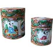 19th C Chinese Export Famille Rose Medallion 2 Small Herb Caddies