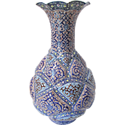 Large Persian MinaKari Vase Hand Painted Enamel over Copper * Floral and Classical Persian Designs on Multiple Puffed Geometric Cartouche