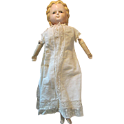 Early Motschmann Type Papier Mache Doll with Black Glass Pupil-less Eyes