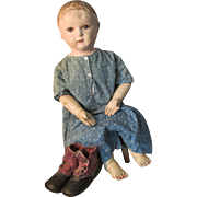 Large Antique Americana Cloth Rollinson Doll with Separate Fingers and Bare Feet in Antique Indigo Dress * High Top Shoes