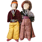 Vintage Navajo Small Cloth Doll Couple with Inked Faces