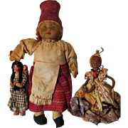 1930s Ethnographic Cloth Dolls * 3 for TLC