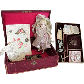 "Romantic 8"" Antique Sonnenberg German Bisque Belton Doll with cup and saucer neck on original Papier Mache 5 piece body * Circa 1885"