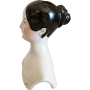 Vintage Royal Copenhagen Re-Issue Porcelain China Doll Head with Early 1840s Fancy Bun