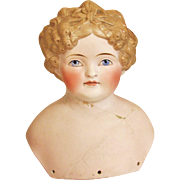 Huge Antique German Parian Blond Bisque Doll Head TLC