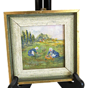 "Miniature Oil Painting on Board ""Gleaners in Field Brittany"" Original, Signed Dated *Lovely to Display with French Fashion Doll"