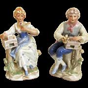 Romantic 19th C Porcelain China Pair of Figurines