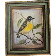 "Miniature Oil Painting on Board ""Kentucky Warbler"" Original, Signed Original Frame * Lovely to Display with Mignonette Doll"