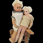 Pair Antique German Papier Mache Dolls TLC