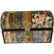 Antique Exquisite Heirloom Plush Velvet Tapestry Covered Dome Top Treasure Trunk Perfect for French Fashion Dolls * Mignonettes * Other Jewels