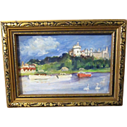 "Miniature Original Signed En Plein Aire Oil Wash Painting ""Arondel Castle Sussex"" in Gilt Wooden Frame * Gorgeous for French Fashion Doll"