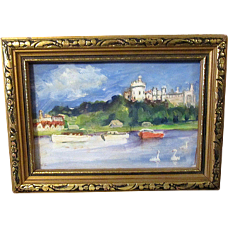 """Miniature Original Signed En Plein Aire Oil Wash Painting """"Arondel Castle Sussex"""" in Gilt Wooden Frame * Gorgeous for French Fashion Doll"""