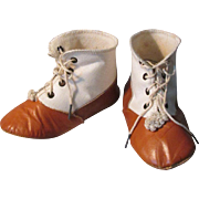 Antique High Top Tie 2 Tone Saddle Shoes for Large French or German Ball Jointed Bisque or Other Dolls