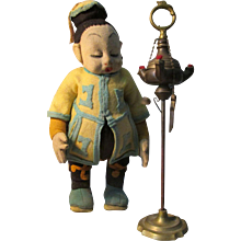 Earliest Felt Lenci Logo Doll Opium Smoker with Antique Brass Opium Chatelaine Accessory