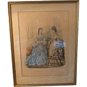 Beautiful Antique French Fashion Lady Plate Illustration from Madrid * Perfect to Display with French Fashion Dolls