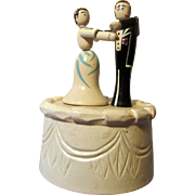 Erzgebirge Wooden Push Puppet Dancing Bride and Groom Doll Couple on Wedding Cake Toy