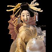 Gorgeous Japanese Showa Period Snow Queen Nishi Gofun Doll *  Silver Embroidered White Kimono * Starry Night Silver Lame' Double Kimono