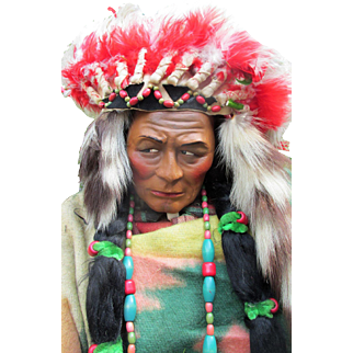 """Store Display Skookum Doll Early All Original Native American Indian * All Original * Magnificent Museum Quality * 39"""" in Headdress."""