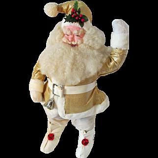 """Huge Rare Harold Gale Display Santa Claus Doll 24"""" in Gold Lame' 1963"""
