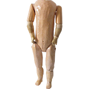"""Antique 14 1/2"""" French Brevete SGDG Composition and Wood Doll Body for a French Bisque Doll Head"""