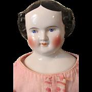 Large Civil War Era Circa 1860s German China Head Doll