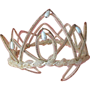 Turn of the Century 1900s  French Wedding Tiara Delicate Woven Horse-Hair with Faux Pearl Drops* Airy Faded Grandeur perfect for French Fashion Doll