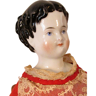 Large Uncommon Adelina Patti Variant China Head Doll with Brush Strokes