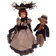 French Folies Bergere Dancer and Swain Dolls
